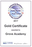 Gold Certificate Award For Grove Gardeners