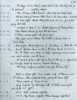 Head Teacher's Logbook, 1962